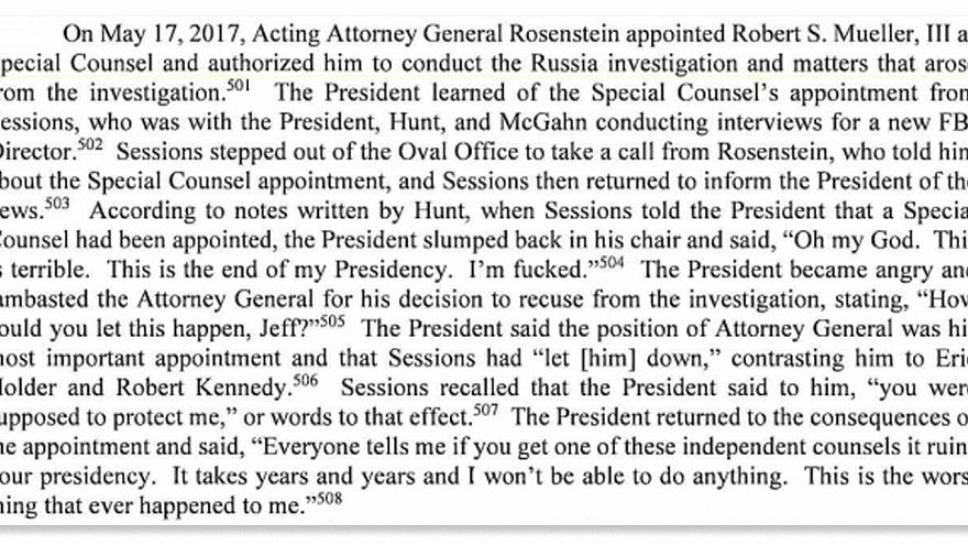 Image: A page from the Mueller report.