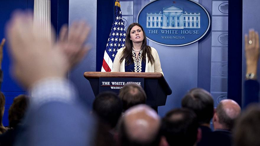 Image: Sarah Huckabee Sanders speaks during a White House press briefing in