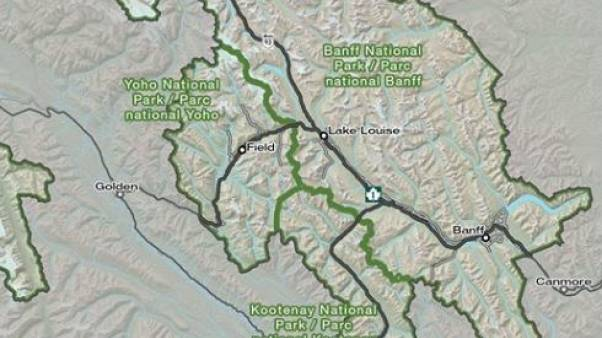 Image: Map showing Howse Peak in Alberta, Canada