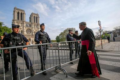 The security perimeter around Notre Dame Cathedral in Paris on Thursday.