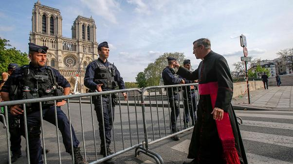 Image: The security perimeter at Notre Dame Cathedral