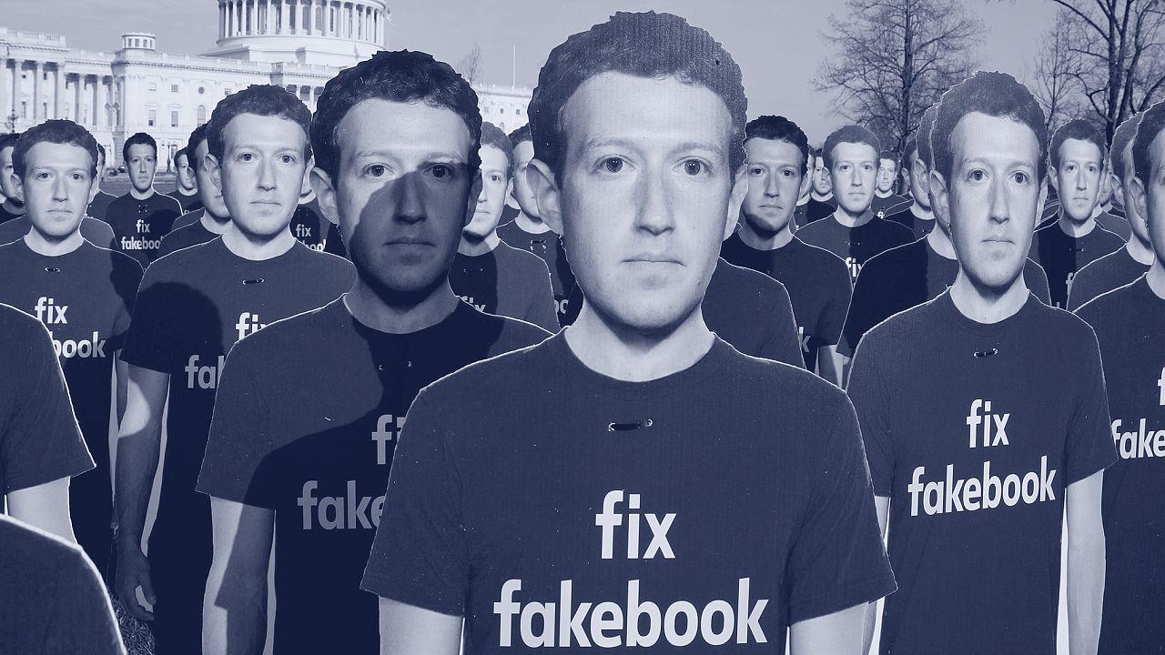 Image: FILE PHOTO: Dozens of cardboard cutouts of Facebook CEO Mark Zuckerb