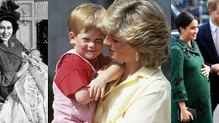 From left to right: Former Princess Elizabeth with infant Prince Charles; P