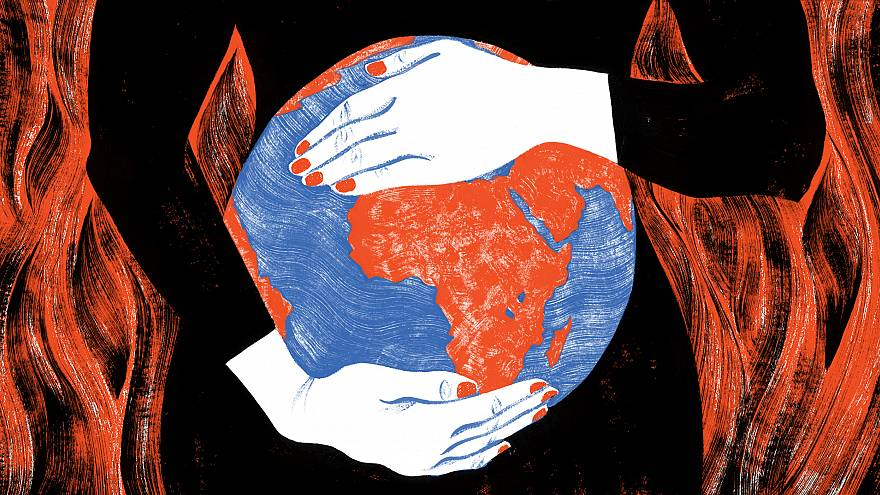 Illustration of woman holding her pregnant belly shaped like an earth.