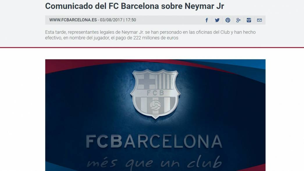 Neymar signs 5 year deal with Paris St-Germain for a world record 222 million euros.