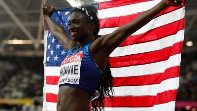 Bowie wins 100m in London, sealing US sprint double at World Championships