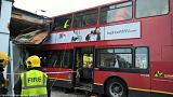London bus crash: Two trapped as double decker smashes into shop