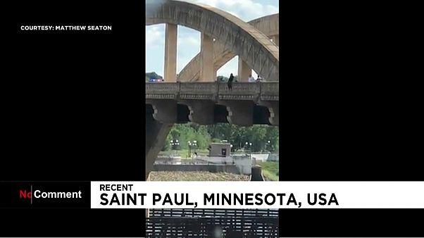 انقاذ إمرأة اردات الانتحار قفزا من أعلى جسر في الولايات المتحدة
