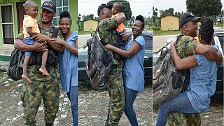 [Photos] Joy as anti-Boko Haram fighter returns home on rotation