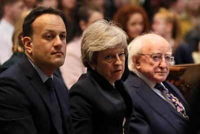 Taoiseach Leo Varadkar, Britain\'s Prime Minister Theresa May and Ireland\'s President Michael D. Higgins attend the funeral service for murdered journalist Lyra McKee at St Anne\'s Cathedral in Belfast, Northern Ireland April 24, 2019.
