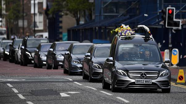 Image: The coffin of journalist Lyra McKee arrives at her funeral at St. An