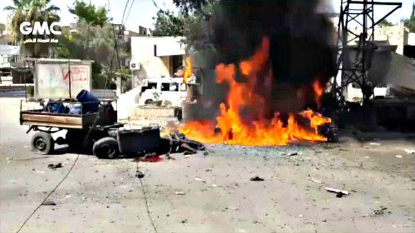 شاهد: ماذا حدث بعد هجوم مدفعي في بلدة كفر باتنة في ضاحية الغوطة الشرقية السورية