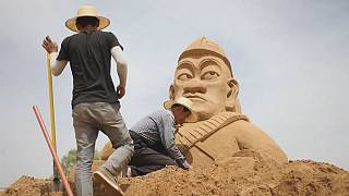 Sand sculpting in Shaanxi, China