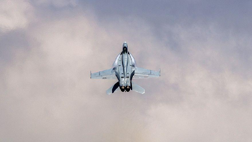Image: An F/A-18 Super Hornet executes tactical maneuvers at an air show at