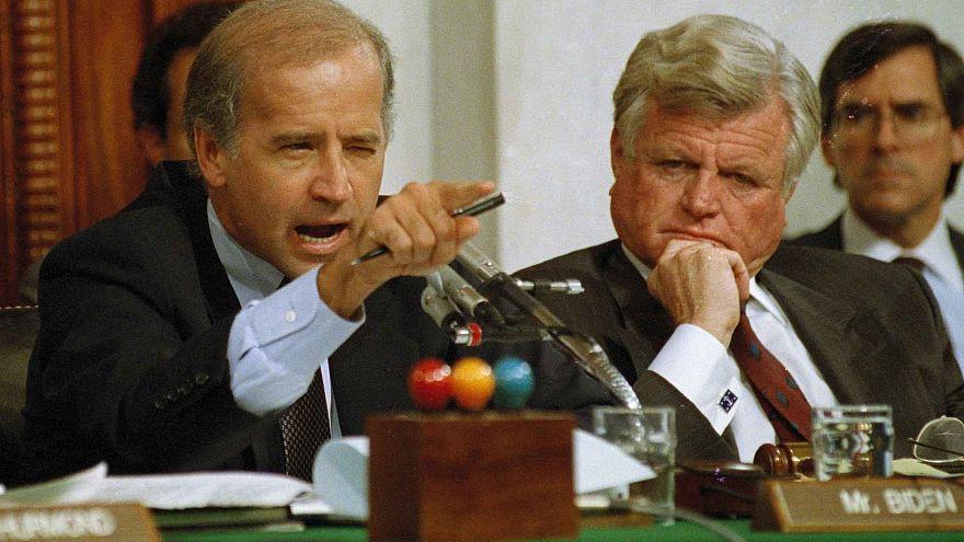 Image: Senate Judiciary Committee Chairman Joe Biden, D-Del., points angril