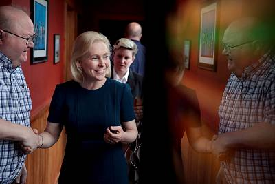 Sen. Kirsten Gillibrand, D-NY, speaks to guests at a campaign event in Des Moines, Iowa, on April 17, 2019.