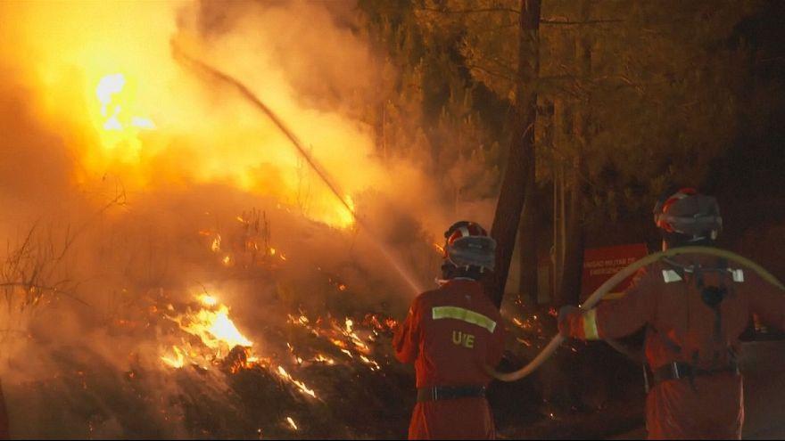 Más de tres mil bomberos luchan contra siete grandes incendios en Portugal