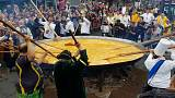 Belgians crack on with giant omelette despite toxic egg scandal