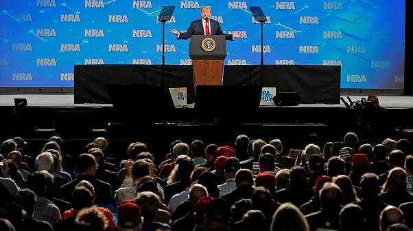 Image: President Trump addresses the annual NRA meeting in Indianapolis