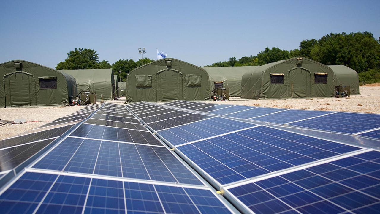 Image: NATO allies test the use of solar panels and energy-efficient and li