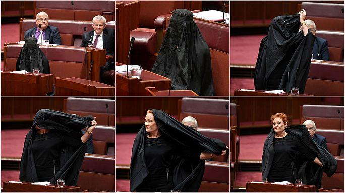 Senator slammed after burqa ban stunt in Australia
