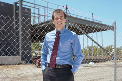 South Bend Mayor Pete Buttigieg near new construction at Ignition Park in 2012.