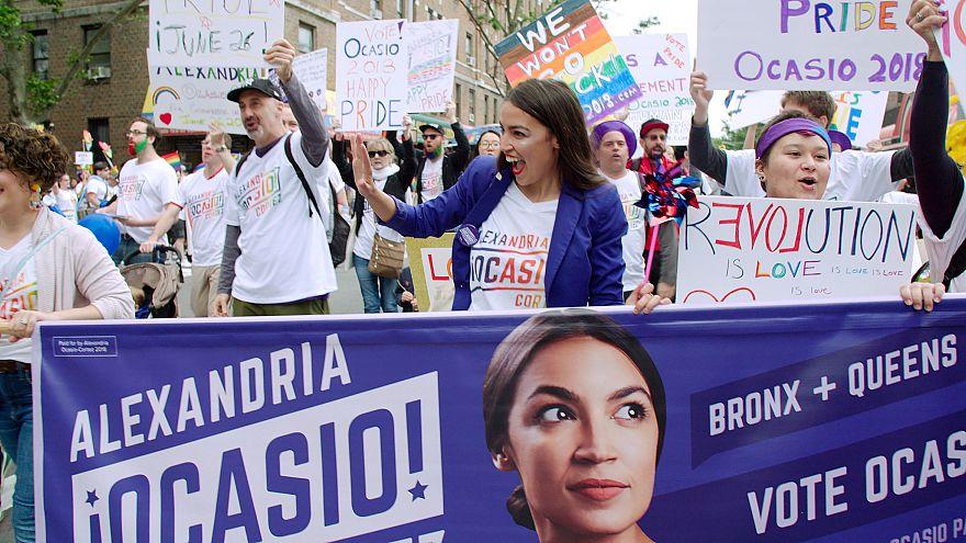"Alexandria Ocasio-Cortez in the Netflix documentary ""Knock Down the House."""