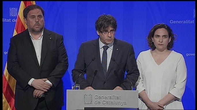"""Puigdemont dice que Cataluña seguirá siendo """"tierra de paz"""""""