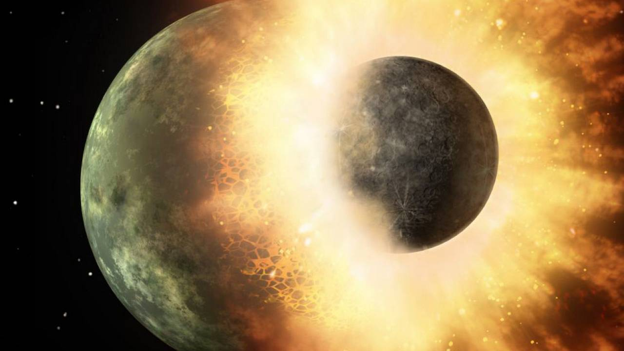 The moon may have formed after a giant Mars-size rock hit a magma-covered n