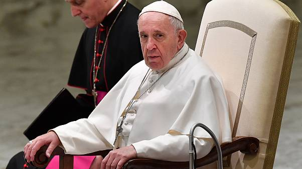 Image: Pope Francis looks on during the weekly general audience on Feb. 6,