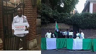 Nigerians in London stage protest outside President Buhari's residence