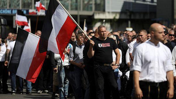 Manifestação da extrema-direita em Berlim