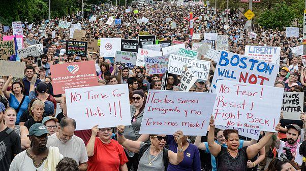 راهپیمایی دهها هزار نفری ضد نژادپرستی در بوستون آمریکا