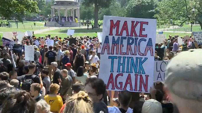 احتجاج في بوسطن ضد أنصار تفوق البيض