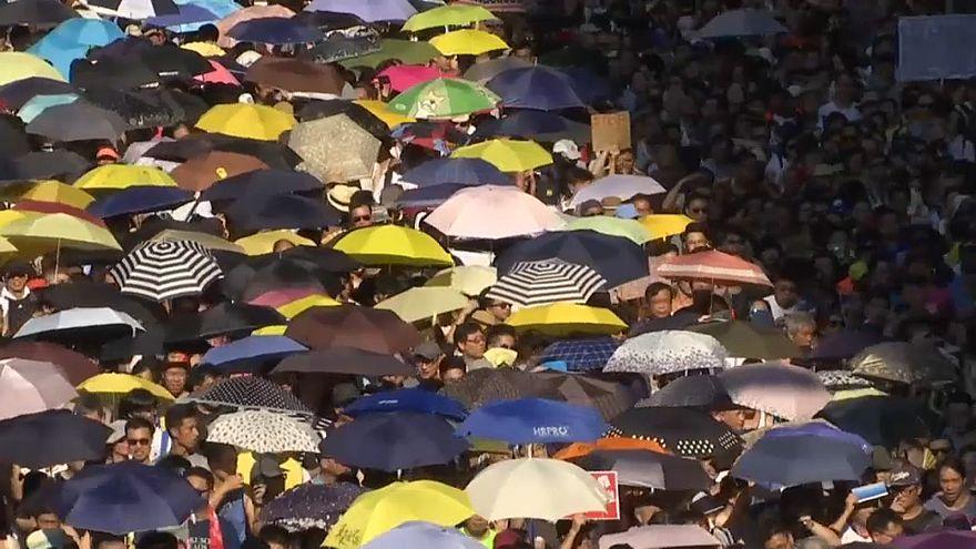 Protestas en Hong Kong contra el encarcelamiento de activistas