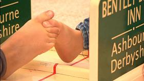 Watch: Competitors put best foot forward for toe-wrestling extravaganza