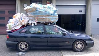 Overloaded driver stopped on French motorway