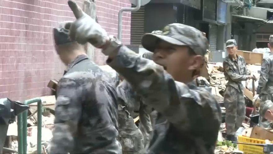Exército de Libertação do Povo Chinês em Macau após tufão