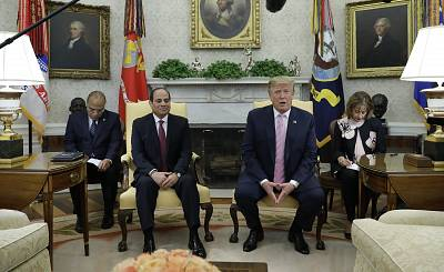 President Donald Trump meets with Egyptian President Abdel Fattah el-Sisi in the Oval Office of the White House, on April 9, 2019, in Washington.