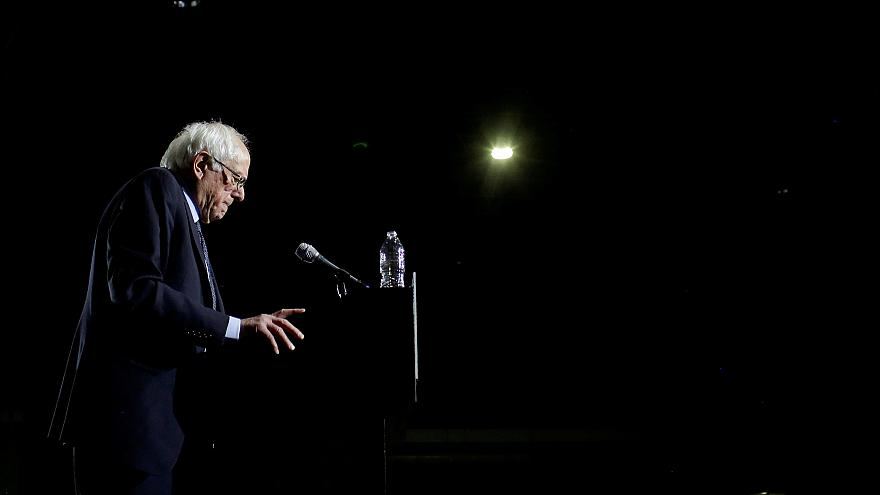 Image: Sen. Bernie Sanders, I-VT, speaks at a campaign event in Chicago on