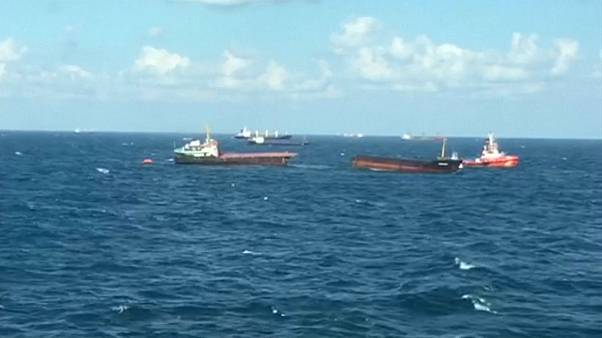 Cargo ship breaks in half in Black Sea