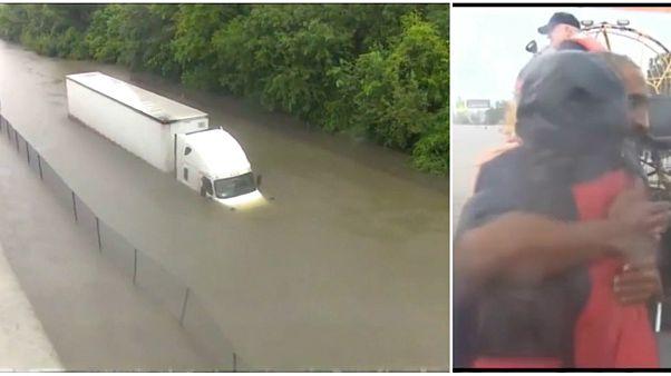 مراسلة أمريكية تنقذ سائق شاحنة من الغرق على الهواء مباشرة