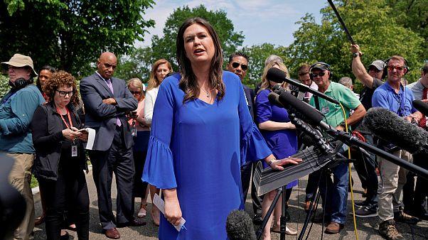 Image: Sarah Sanders speaks at the White House in Washington