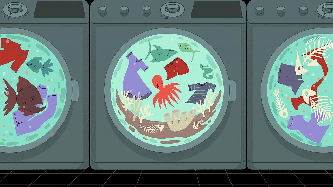 Illustration of front loading washing machines with clothes and dead fish s