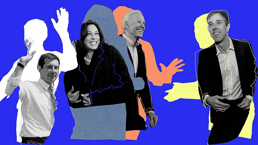Photo illustration of Pete Buttigieg, Kamala Harris, Joe Biden, and Beto O'
