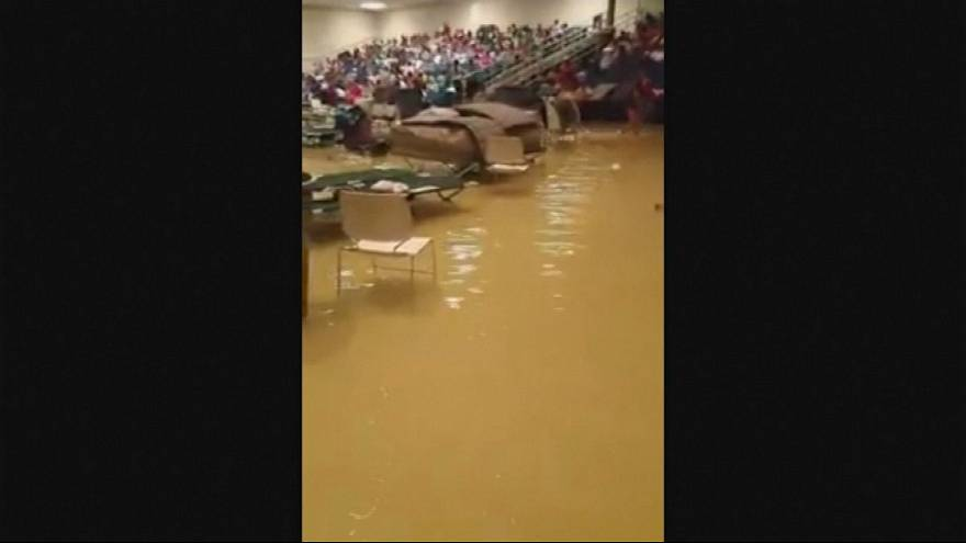 Houston evacuation centre floods