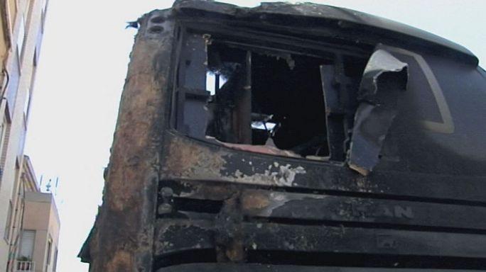 Autocarro incendiado na Volta a Espanha