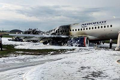 The remnants of the Aeroflot jet after it made an emergency landing on Sunday.
