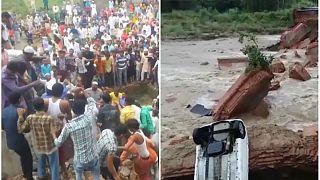 [شاهد] انهيار جسر جراء الفيضانات الموسمية شمال الهند