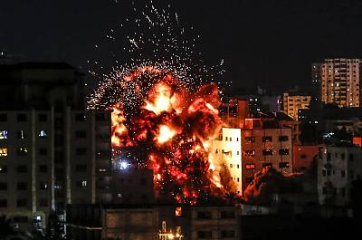 An explosion during an Israeli airstrike on Gaza City on Saturday.